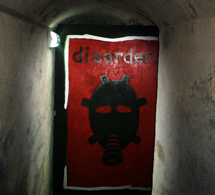 Classic Disorder Design at the entrance of a world war II shelter which was one of the best venues for early disorder events!